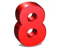 3D Number Eight on white background